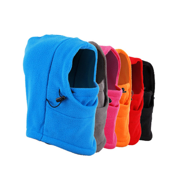 Wholesale- Outdoor Skiing Bibs Thermal Warm Balaclava Hood Snood Ski Snowboard Skate Polar Fleece Neck Scarf Wind Stopper Full Face Mask