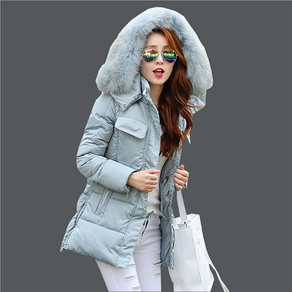 New Korean Women Winter Parkas Coats 2015 Fashion Slim Big Fur Collar Hooded Down Jacket Coats Plus Size Woman Warm Cotton Padded Coat