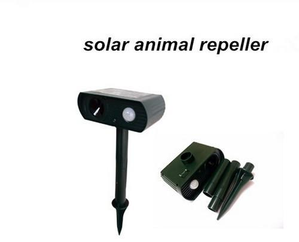 Solar Powered Ultrasonic Animal Repeller Repellent Birds Dogs Cats Deer Rat Mice Monkey Mole 10pcs/lot Hot Selling Free Shipping