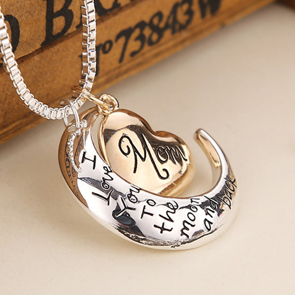 best selling 2019 High Quality Heart Jewelry I Love You To The Moon And Back Mom Pendant Necklace Mother Day Gift Wholesale Fashion Jewelry ZJ-0903221