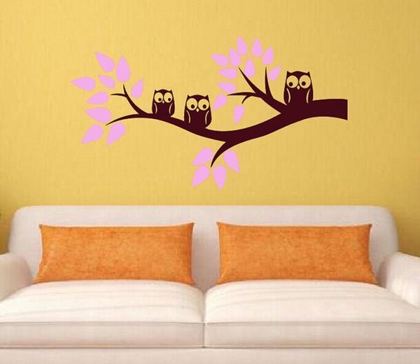 Removable Decal Home Decor Vinyl Decal Cartoon Owl On Branch Outline Sketch Baby Room Anime Sticker Wall Sticker