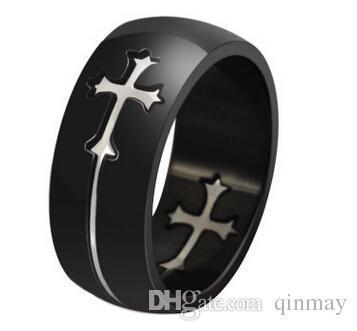 Gfts der Art- und Weisetitanring der Männer der Männer polierte die Versprechen der Mens-Frauen, die Engagenebt Band-Ringe mit beweglichem Kreuz polieren