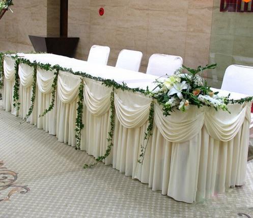 Gonna da tavolo in legno massello di seta bianca di moda con gonna lunga da 20 piedi VELOCE VELOCE