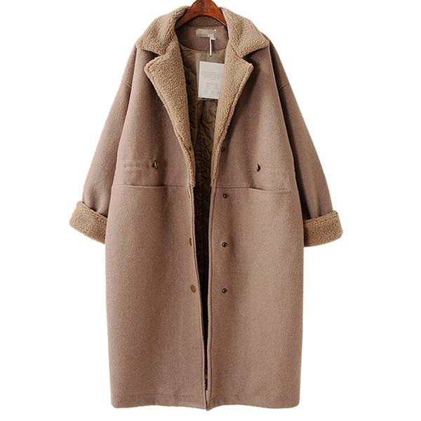 Winter Lose Mantel Weibliche 2018 Herbst Casual Umlegekragen Taschen Knopf Einfarbig Dicken Frauen Outwear KA04507