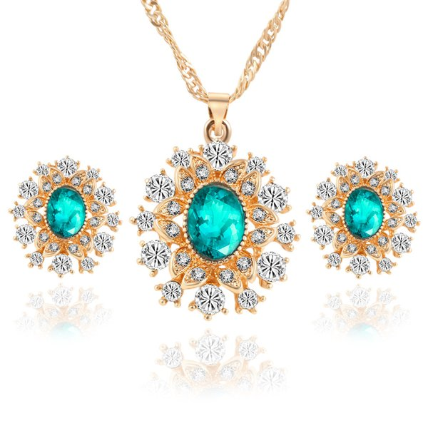 Bridesmaid Jewelry Set Wedding Crystal Pendant Necklace Earring Party Jewelry Set 18k Gold Indian African Fashion Jewelry