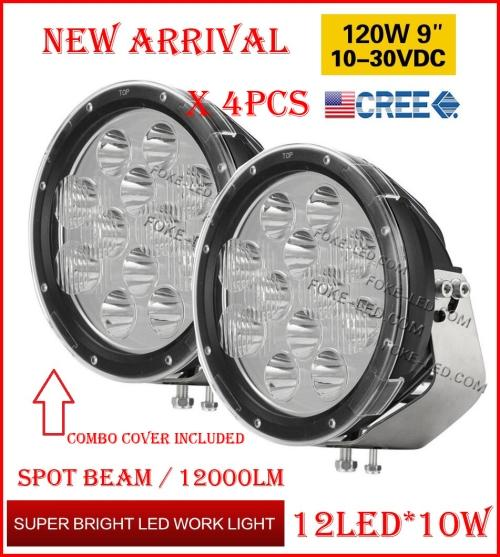 """DHL 4PCS 9"""" 120W 12LED*10W CREE LED Driving Work Light Round Offroad SUV ATV 4WD 4x4 Transport Spot Beam 10-60V 12000lm Combo Protect Cover"""