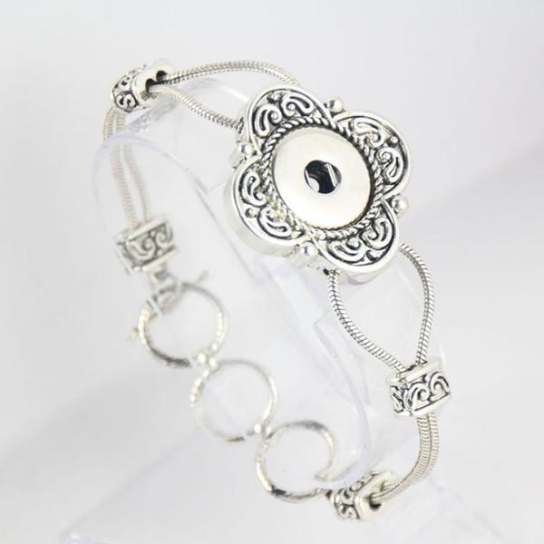 In stock flower shaped DIY interchangeable 18mm snap bracelet jewelry button bracelets for women diy making