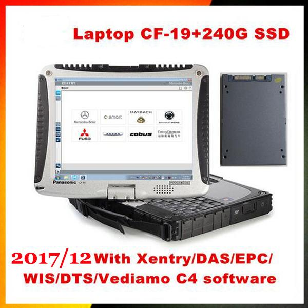 Top-rated Toughbook Panasonic CF 19 laptop with 2017/12 DTS Monaco8+Vediamo+Xentry+DAS+EPC installed in SSD for MB Star C4/C5