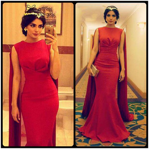 2016 Dubai Kaftan Saudi Arabia Mermaid Evening Dresses Long Red Satin Chiffon Evening Dress Robe de Soiree Arabe Cheap