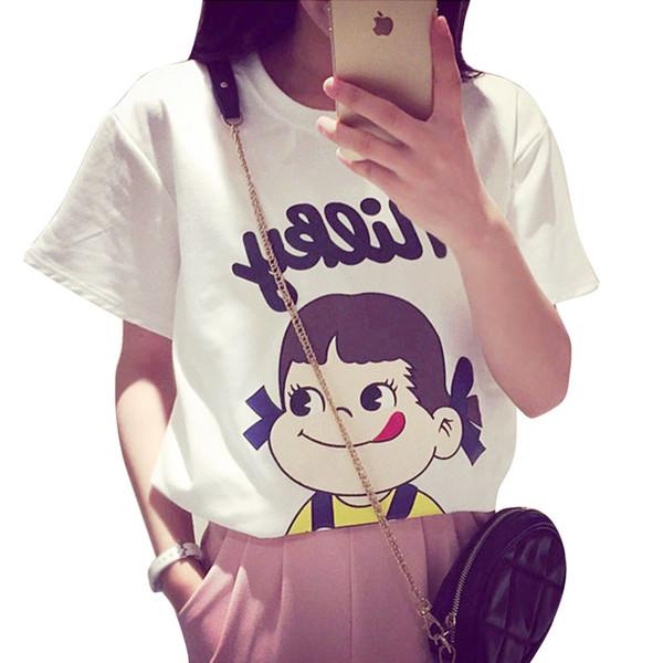 Nuevo 2016 Summer Style Women Tshirt Cute Little Girl patrón Suelto de manga corta T-shirt Mujeres Tops Tee Casual Kawaii Red Black