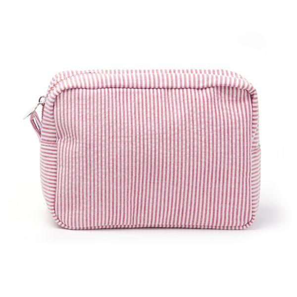 Bolso cosmético pequeño Seersucker a rayas rectángulos Bolsa de maquillaje Regalo de Navidad (envío gratis)
