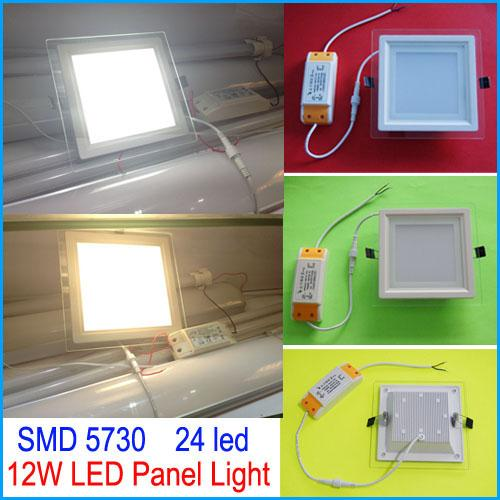 best selling 12W led Panel Light square glass Recessed Downlights SMD5730 24 Leds Warm Cool White Led Ceiling Lights Driver 100-240V With CE ROHS SAA