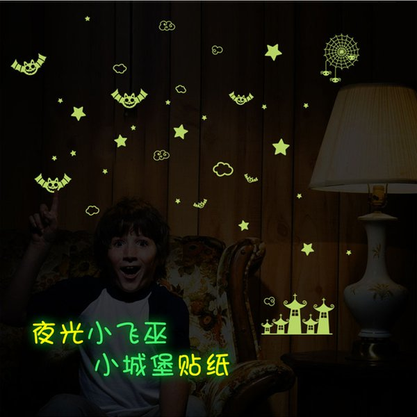 DIY luminous Halloween decoration wall stickers for kids rooms party festive decals Star Moon Bats Castle home decor
