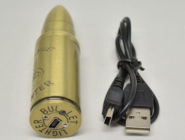 2015 Electronic Cigarette Lighters Rechargeable USB Lighters Flameless Windproof lighter Bullet shape lighter USB lighter