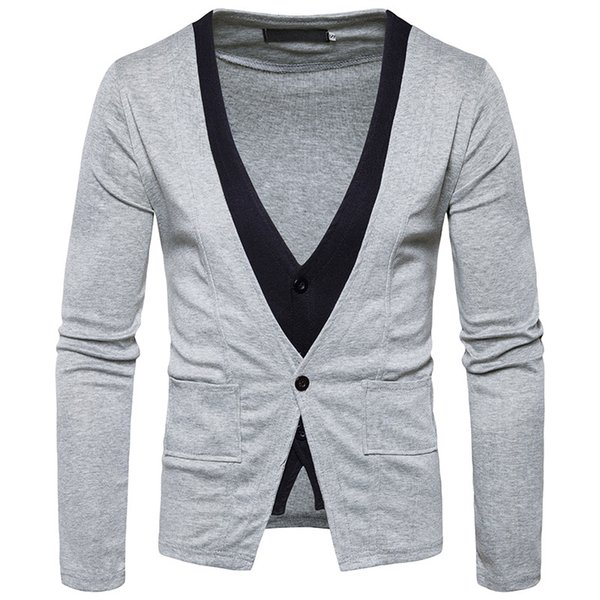 New Design Fake two-piece Sweater Men s Brand V-neck Gentleman Cardigan With Pocket Man Sweaters Pockets Single Button Cotton Free Shipping
