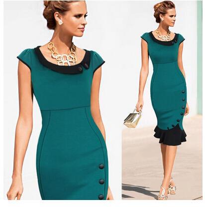 All'ingrosso-Nuove donne di moda pulsante vintage tunica fasciatura lavoro formale elegante partito di promenade sirena midi dimenare aderente abito a matita
