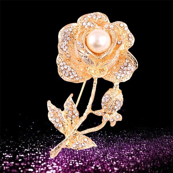 NEW fashion Gold Sliver 1 Pc Flower Rhinestone Crystal Women Wedding Party Jewelry Brooches Pin evan