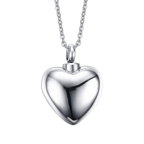 Stainless Steel Personalized Cremation Urn Necklace Silver Plain Heart Memorial Pendant Keepsake Pet Ash Holder