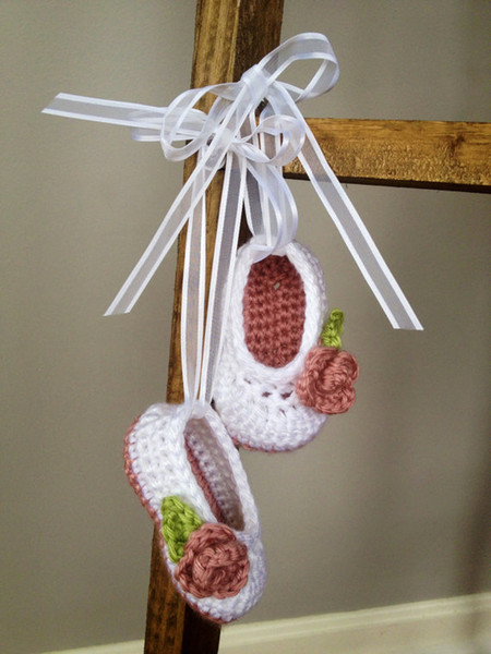 Crochet baby girl shoes ballet shoes flower leaves ribbon 0-12M 30pairs/lot cotton yarn custom free shipping