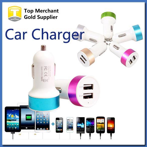 Metal Dual USB Port Car Charger Universal 12 Volt 1 2.1 Amp for Apple iPhone iPad iPod Samsung Galaxy Moto Nokia Htc