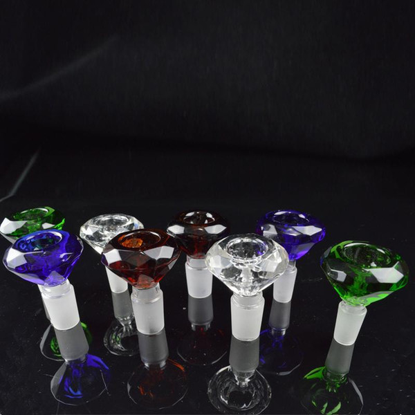 Diamond Male Bong Bowls 14mm 18mm Bowl Heady Colored 18.8mm 14.4mm Glass Bowls for Water Pipes Oil Rigs Multicolor Glass Bowl