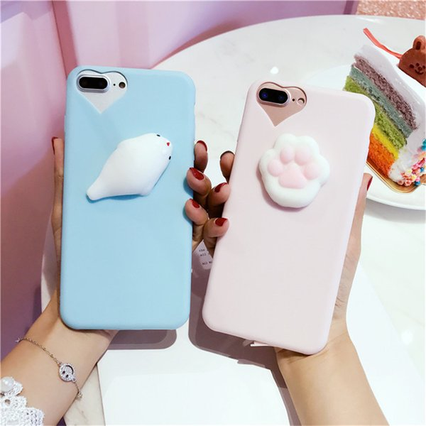 san francisco d46b2 3eba1 3D Cute Cat Seal Lion Dog Squishy Phone Case For IPhone 7 Cases 6 7 Plus 5  5S Soft TPU Candy Cover For IPhone 6 Case 6S Plus Cheap Phone Cases Cool ...