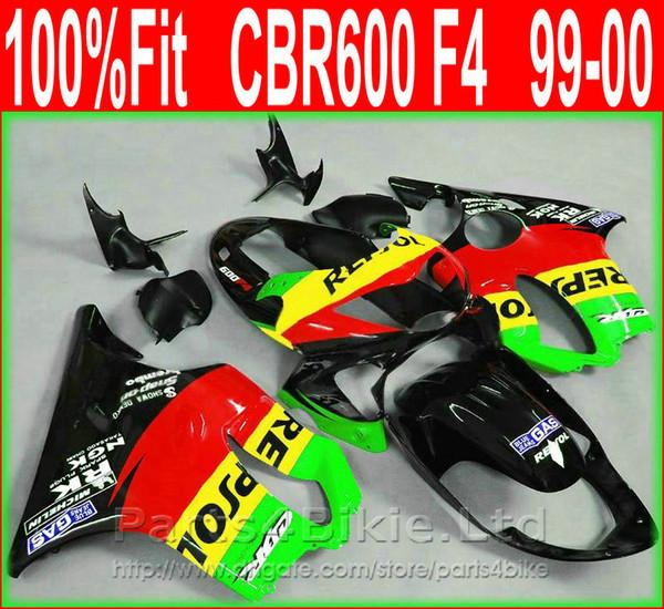 7Gifts GAS Repsol carenado de motocicletas para Honda 99 00 CBR600 F4 bodykit CBR 600 F4 1999 2000 carenado de kit AMIC