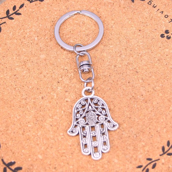New Arrival Novelty Souvenir Metal hamsa palm hand protection Key Chains Creative Gifts Apple Keychain Key Ring Trinket Car Key Ring