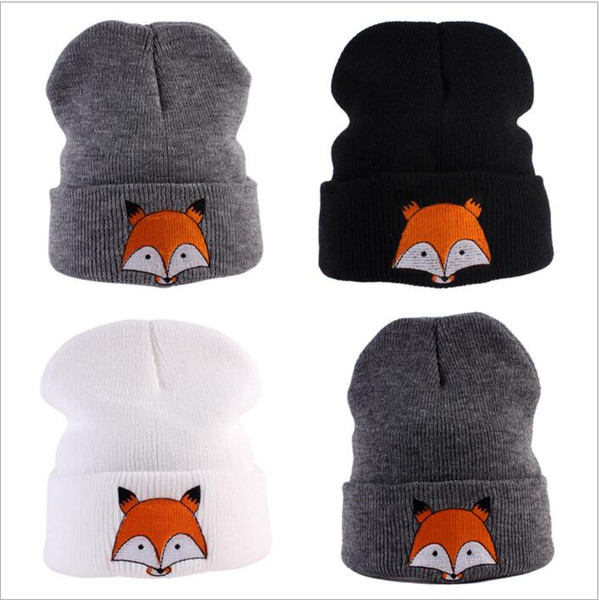 Cappelli a maglia Fox Animal Cartoon Beanie Cappelli a cilindro in lana per bambini Inverno Knit Slouchy all'uncinetto Cappelli Fashion Outdoor Oversized Hat Headwear B3556