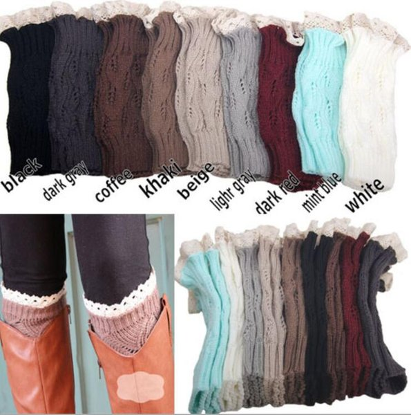 9 color women Crochet lace boot cuffs handmade Knit leg warmer Ballet lace Boot Cuff Leg Warmers Christmas Boot Socks covers 500Pairs