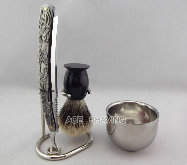 Barber Straight Razor Shaving Set Stand Stainless Steel Cup Acrylic Handle Finest Badger Hair Shaving brush 4 pcs Set