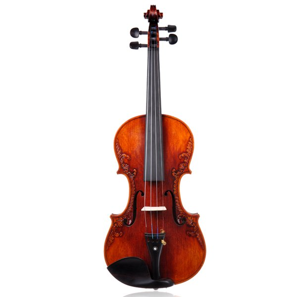 100% Handmade Carved Violin Professional Grade Playing Violin Instruments The Baroque Style High Quality Maple Violin