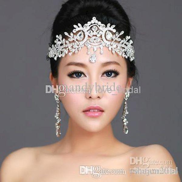 EN STOCK 2014 Novia Corona Impresionante Swarovski Nupcial Cristal Tiara Corona de la boda Accesorios para el cabello CheapvProm Pageant Accesorios