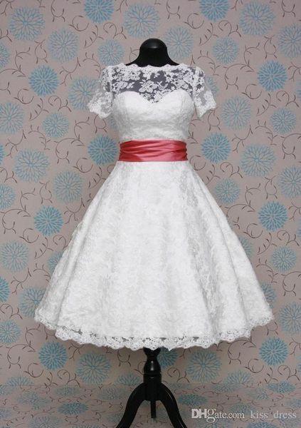 2019 Abiti da sposa in pizzo stile vintage tè lunghezza manica corta gioiello collo corto A-Line abiti da sposa su misura W1032
