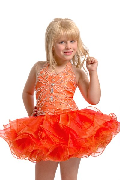2015 Yellow Halter Ball Gown Short Organza Cupcake Girls Pageant Dresses Toddler Birthday Party Dresses Above Knee special occasions Dresses