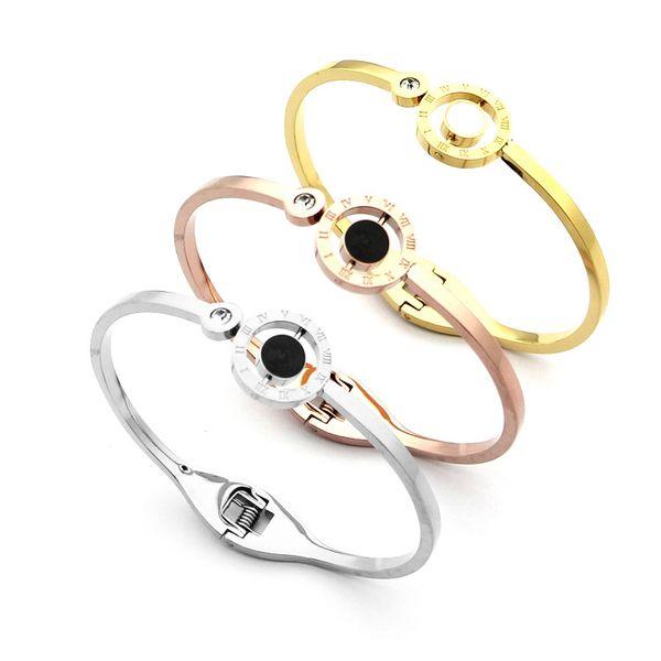 Titanium steel jewelry wholesale Roman numerals bracelet Rotary black and white drip single diamond bracelet 18K Gold ladies bracelet