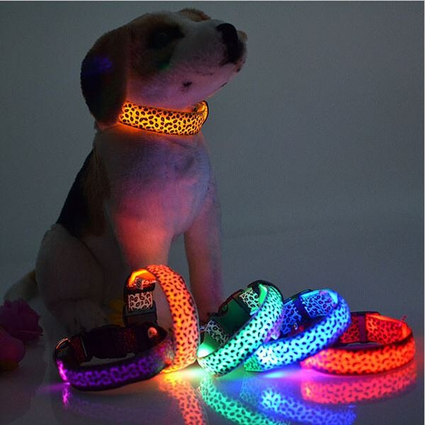 best selling LED Dog Collar Safety Leopard Design Nylon Night Light Necklace For Dog Cat Glowing in the dark Flashing Pet Decor Producto L007