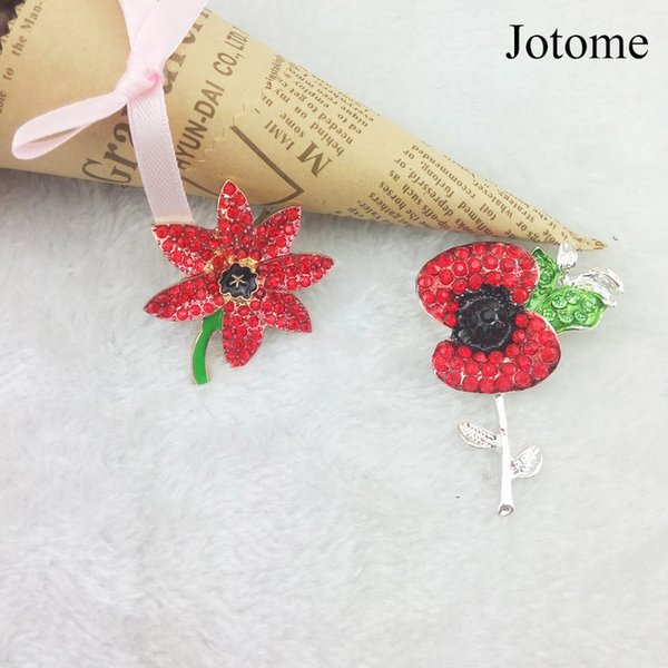 100pcs/lot wholesale Very Beautiful Sparkling Gem A Stunning Bright Brooches Red Crystal Rhinestone Poppy Pins
