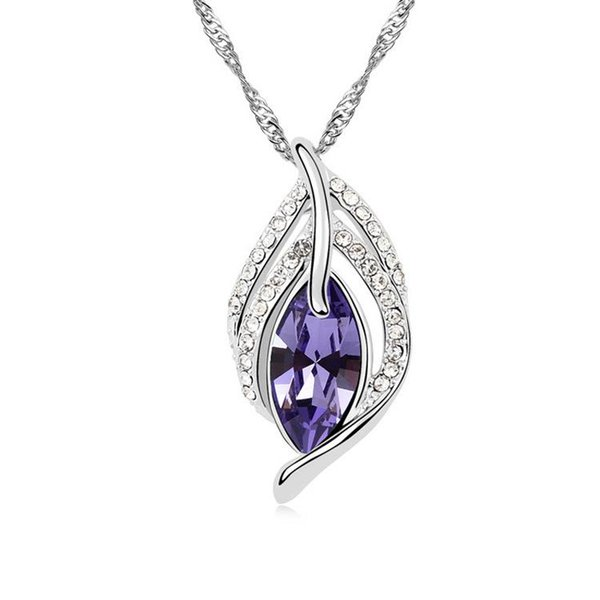 Austrian crystal necklace - leaves dance beauty-colours