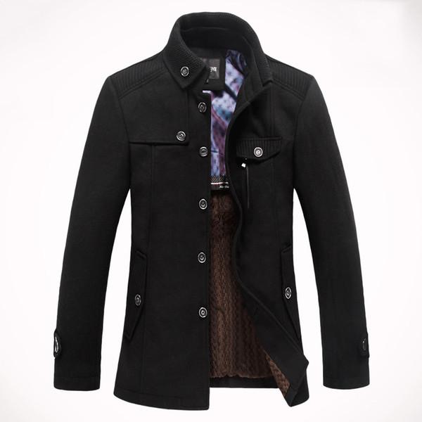 FG1509 De Luxe Hiver Hommes Militaire Trench Pea Coat 2015 Mode Noir Hommes Manteaux De Laine Casual Double Poitrine Hommes Trench-Coat Jacket 3Xl