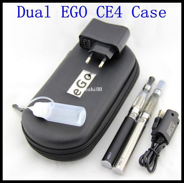 eGo CE4 Double Starter kits e-cig 2 CE4 atomizer 2 battery 1100mah in eGo e-cigarette zipper case Electronic Cigarette smoking