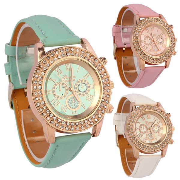 Al por mayor-Vogue Mujeres Señoras Crystal Dial de cuarzo analógico de cuero de la PU pulsera del reloj Tops