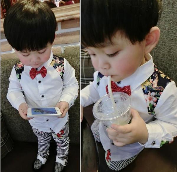Hot Sale Spring Fashion Cool Kids Boy Flower Print Long Sleeve Shirt Korean Children Clothing Floral