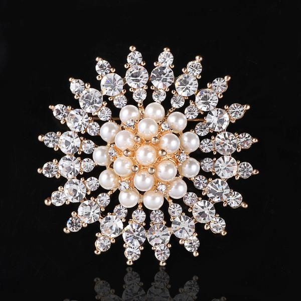 2 Inch Rose Gold Plated Clear Rhinestone Crystal Diamante Cream Pearl Large Sun Flower Wedding Brooch