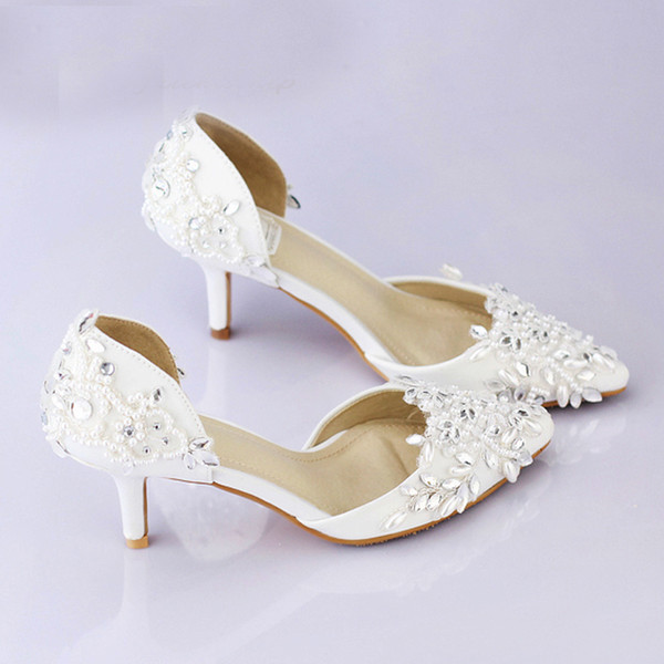 9314ffd495 Cheap Pointed Toe Wedding Shoe Comfortable Middle Heel Bridal Wedding Party  Shoes Handmade Crystal Pregnant Shoes White Satin Flat Silver Wedding ...