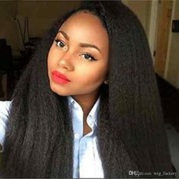 human hair wigs kinky straight wigs natural color #1b full lace wigs kinky wig for black women