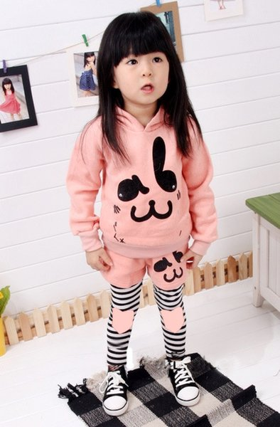 Free shipping girls spring autumn clothes cute girl outfit rabbit printed jumper+legging 2pcs set for baby girls kids suit