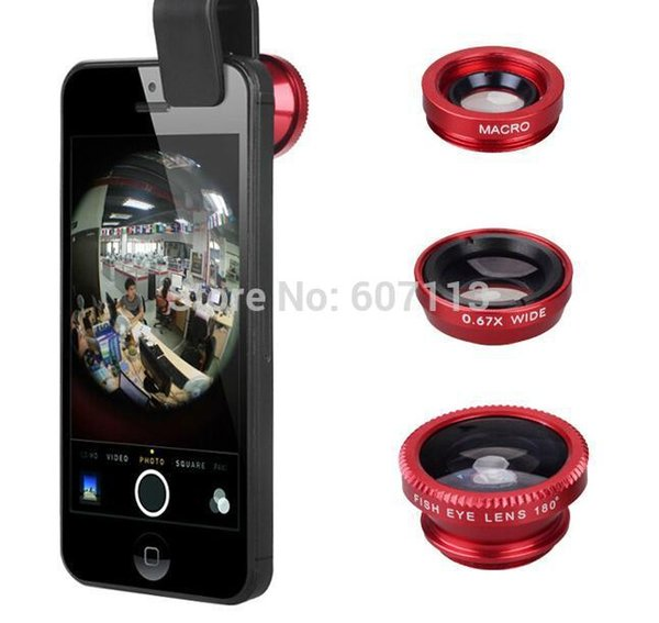 Wholesale-0.67X Gran Angular Macro + 180 Fish Eye Clip Universal 3 en 1 Lente para iPhone 4 5 6 plus Kit de cámara Set para Samsung S4 ipad mini