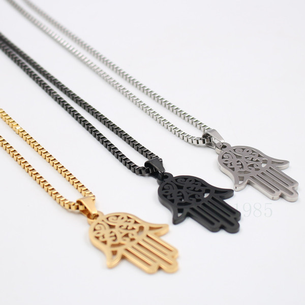 "Stainless steel necklace Hand of Fatima Hamsa Kabbalah silver black gold Charm on 24"" box Chain ship free"