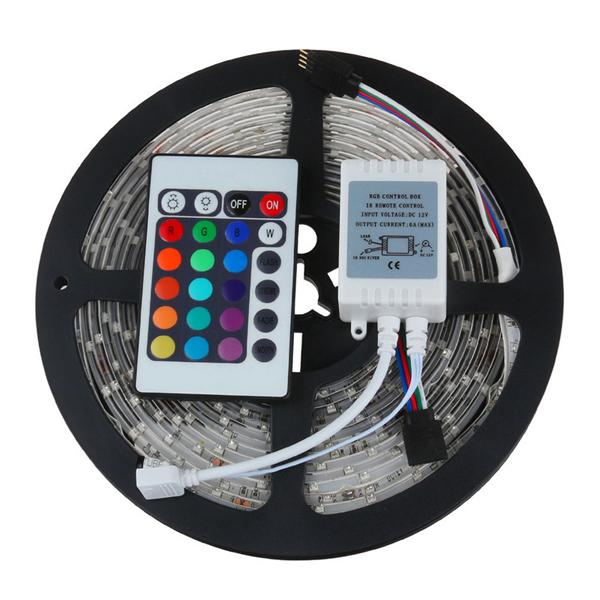 5m 300 LED 3528 RGB color changing flexible strips set + 24 Keys IR remote controller + 12V 2A 24W adapter Free shipping by Fedex